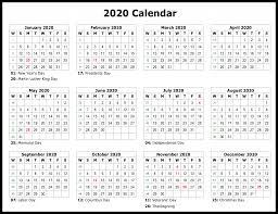 2020 Calendar Free Template Free Printable Calendar 2020 Template In Pdf Word Excel