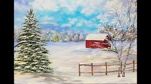 snowy winter landscape with red barn acrylic painting tutorial for beginners live lovewinterart