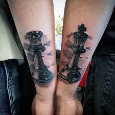 60 šachových šperků Kusů Tetování Vzory Pro Muže Silné Inkoustové
