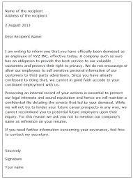 Sample Dismissal Letter Dismissal Letter Sample