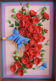 paper quilling rose wall art crafts and arts ideas