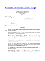 Complaint For Unlawful Detainer Sample Lawsuit Complaint