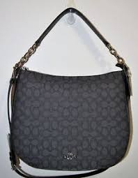 Image is loading NWT-COACH-Black-Smoke-Signature-amp-Leather-Large-