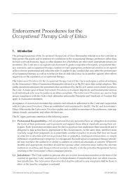 enforcement procedures for the occupational therapy code of ethics  first page pdf preview