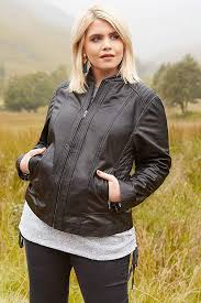charm black yours clothing women s plus size leather jacket gmmyel