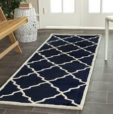 hand tufted moraccan dark blue wool runner rug 2 3