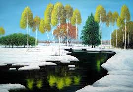 elegant tree and lake landscape oil painting river winter naturalism 24 x 36 inches with frame