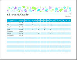 checklist in excel bill payment checklist templates for ms excel word excel templates