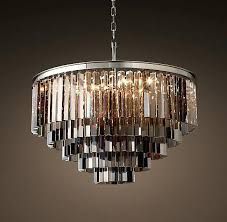 smoke glass fringe 5 ring round chandelier polished nickel smoked uk