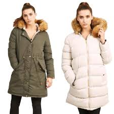 details about brave soul womens hooded reversible parka puffer jacket new faux fur padded coat