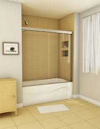 semi frameless sliding shower doors. minimalist tub shower door with 3/4 height and sliding semi frameless doors e
