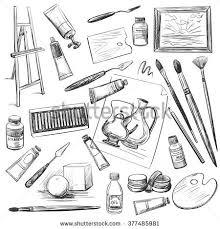 art tools drawing. set of hand drawn tools and materials the artist art drawing