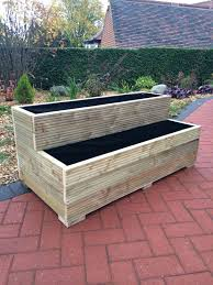 large wooden garden step planter trough two tier veg bed free lining wooden garden planters large wooden garden step planter trough two tier veg bed free