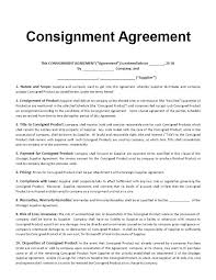 Consignment Agreement Sample Image Collections - Agreement Letter ...