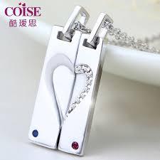 coise couple necklaces heart puzzle tag necklaces set with cz diamond accents personalized pendants