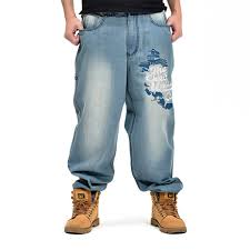 Mens Designer Jeans Size 46 2019 Plus Size 30 46 Mens Blue Loose Jeans 2018 Cargo Denim Pants Workwear Embroidery Designer Brand Baggy Jeans Trousers Ws306 From Forseason