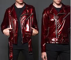 home men faux leather jackets arrow moto lackjacke biker jacket red vinyl jacket gothic punk jhbgf zoom helmet