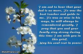 I Am Sad To Hear, Sympathy Message For Loss Of Father