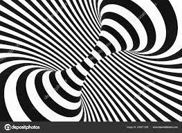 Zwart Wit Spiral Tunnel Gestreepte Gedraaide Hypnotische Optische