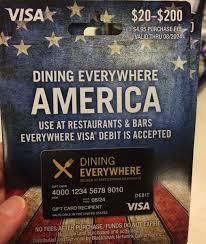dining everywhere prepaid visa card