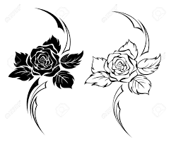Two Monochrome Roses For Tattoo