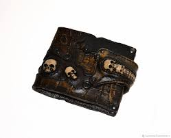 wallets business card holders handmade livemaster handmade leather purse with skulls