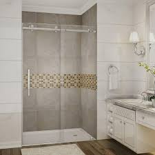 completely frameless sliding shower door in stainless