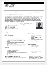 Payroll Administrator Resume Template For Word Word