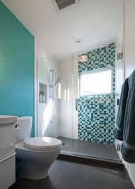 bathroom glass tile shower. contemporary bathroom with turquoise accent wall glass shower door and green tile decoration