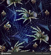 Tarantula Web Design Embroidery Spider Web Seamless Pattern Halloween Background