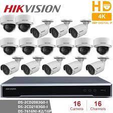 Hikvision 16CH CCTV Gözetim Kiti 8MP Güvenlik Kamera Sistemi 16CH POE NVR +  16 Adet 8MP POE IP Kamera H.265 CCTV Su Geçirmez Surveillance System