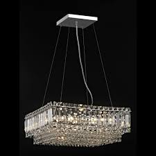 Large Light Socket Impex Lighting Alvery 8 Light Large Crystal Square Celing Pendant In Polished Chrome With Crystal Decoration