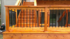 metal deck railing posts for cable railings designs step wire systems deck railing stair installation