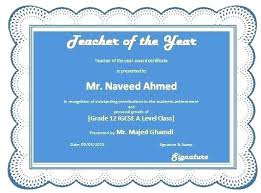 Best Teacher Award Template Teacher Of The Month Certificate Template Certificates 4 Teachers