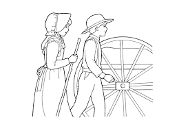 pioneer woman clothing drawing. a black-and-white illustration of young pioneer boy and girl woman clothing drawing