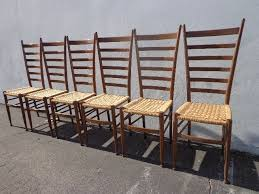 epic set of 6 italian gio ponti ladderback chairs mid century seating modern dining midcentury chair danish wood danish cord seat mcm finds
