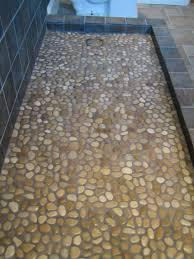 gray rock river mosaic shower floor tile for