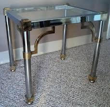 petite hollywood regency style chrome brass glass side table 1970s france maison jansen