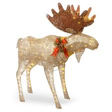 Outdoor Lighted Moose National Tree Company 48 In Moose Decoration With White Led