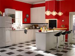 Checkered Kitchen Floor Retro Kitchen Design Ideas White Finish Wooden Corner Shelves