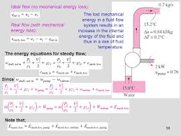 56 ideal flow no mechanical energy loss real flow with mechanical energy