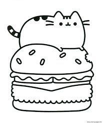 Superb Food Coloring Pages Pusheen Hamburger Printable For Adults