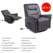 homcom power lift chair recliner armchair leather electric remote control lounge