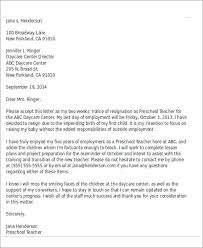 Two Weeks Notice Letter For Daycare 8 Sample Childcare Resignation Letters Pdf Doc