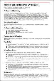 Skills And Abilities To Put On A Resume Awesome Primary School Teacher CV Sample MyperfectCV