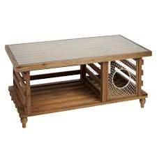 Solid Wood Coffee Table With Lobster Trap