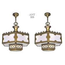 ant 519 pair of matching gothic or arts and crafts style ceiling lights
