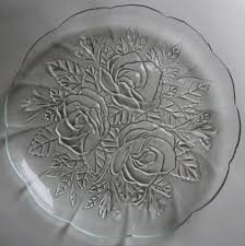 4 pasari crystal livia clear glass dinner plates indonesia rose frosted edge
