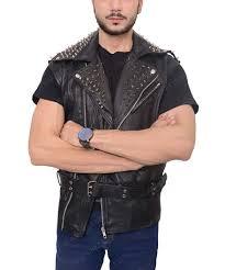 black belted leather vest