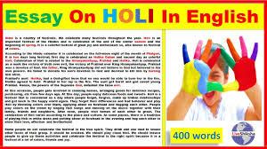 400 Words Essay Essay On Holi In English Holi Essay In 400 Words Youtube